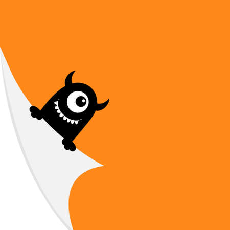 Black monster face holding fold page corners. Curled paper corner. Hand, horns, teeth. Happy Halloween. Cute cartoon funny baby character. Greeting card template. Orange background. Vector