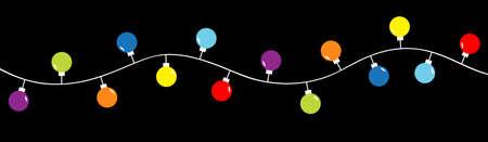 Christmas lights. Colorful string fairy light set. Lightbulb glowing garland. Round shape. Holiday festive xmas decoration. Rainbow color. Flat design. Isolated. Black background. Vector illustration 免版税图像 - 157522454