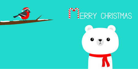 Merry Christmas. Candy cane. White polar bear in red scarf. Bulfinch bird on tree brunch. Hello winter. Cute cartoon kawaii baby character. New Year. Arctic animal. Flat design. Blue background Vector 向量圖像