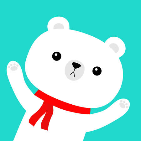 Polar white bear in red scarf. Merry Christmas. Hello winter. Cute cartoon kawaii baby character. Happy New Year. Arctic animal waving hand. Flat design. Blue background. Vector illustration