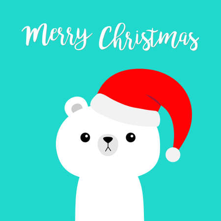 Merry Christmas. Polar white bear in red Santa Claus hat. Cute cartoon kawaii baby character. Happy New Year. Arctic animal. Flat design. Hello winter. Blue background. Vector illustration