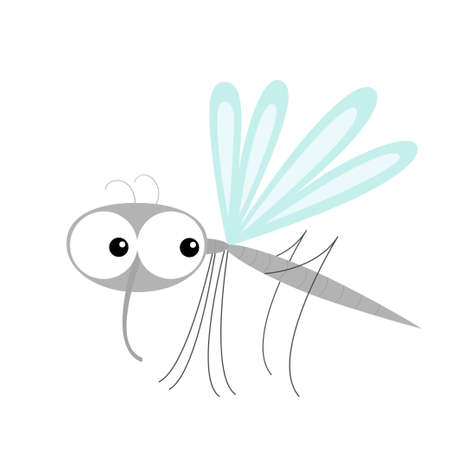 Mosquito icon. Cute cartoon kawaii funny character. Insect collection. Baby illustration. White background. Isolated. Flat design. Vector
