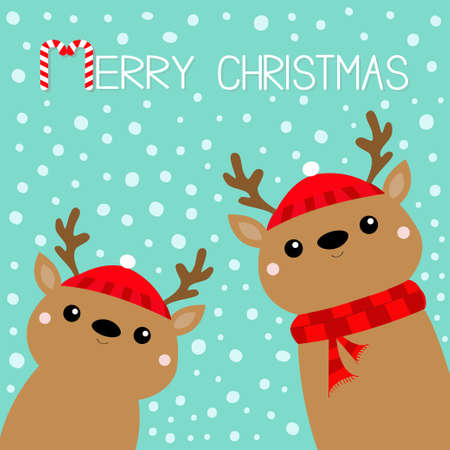 Merry Christmas. Raindeer deer head face icon set. Red hat, scarf, nose, horns. Happy New Year. Cute cartoon kawaii baby character. Funny animal. Flat design. Hello winter. Blue snow background Vector