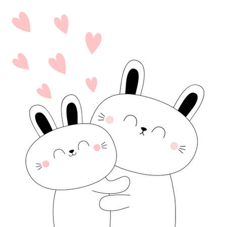 Bunny couple. Baby rabbit hare. Hugging family. Cute kawaii funny cartoon character. Hug, embrace, cuddle. Happy Valentines day. Easter. Pink hearts. Greeting card. Flat design. Vector illustration