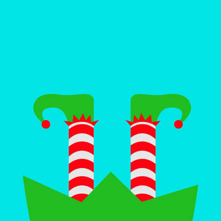 Merry Christmas. Santa Claus Elf legs with shoes icon. Green costume. Red white striped socks. Happy New Year. Cute cartoon funny kawaii baby character. Flat design. Isolated. White background. Vector