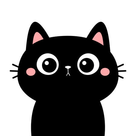 Cute cat. Black kitten face head silhouette. Funny kawaii cartoon baby character. Happy Halloween. Notebook sticker print template. Flat design. White background. Isolated. Vector illustration