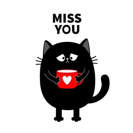 Miss you. Cat kitten holding coffee cup. Sad grumpy bad emotion face. Cute cartoon kitty character. Kawaii funny animal. Love Greeting card. Flat design. White background Isolated. Vector illustration Vektoros illusztráció