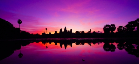 Ankor Wat bij zonsondergang, Cambodja Stockfoto