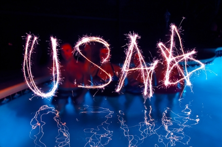 USA spelt with Sparklers