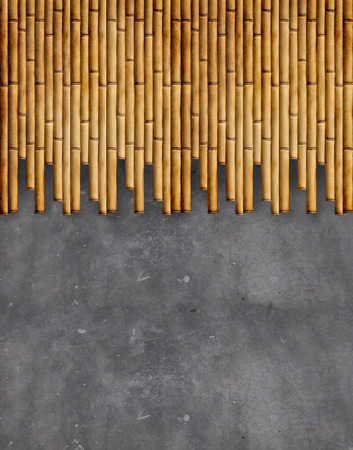concrete wall with bamboo texture