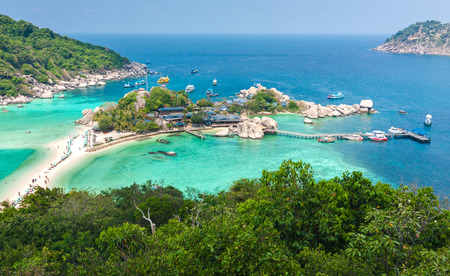 nangyuan: High Angle View of Koh Nangyuan in Thailand Stock Photo