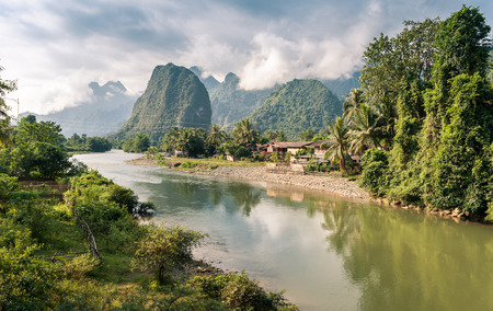 Landscape of Nam Song River at Vang Vieng, Laos Stock Photo