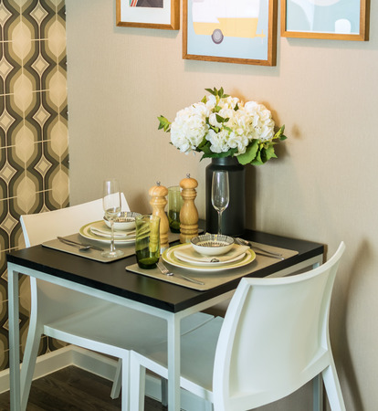dinning room: table set with chairs in dinning room