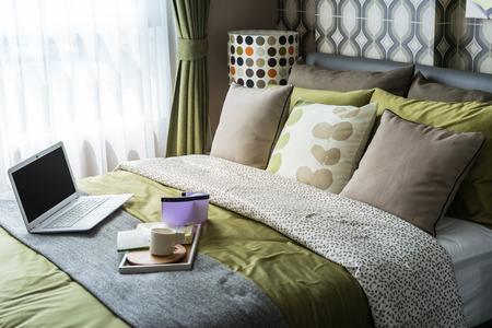 retro bedroom style with polka dot lamp photo