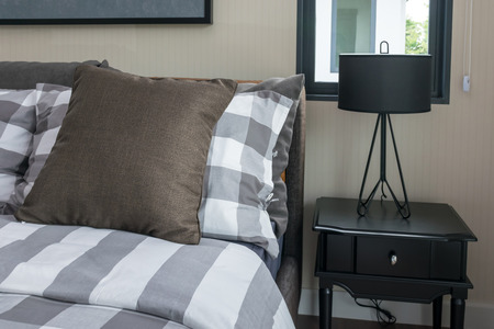 bedchamber: bed and brown pillows in modern bedroom