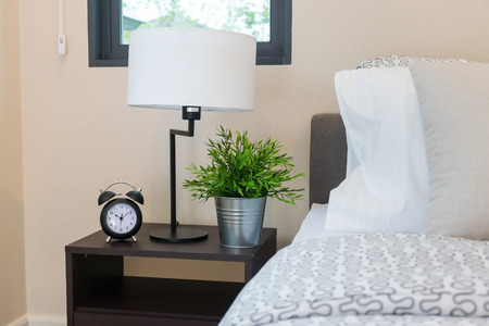bedchamber: close up of bedroom with reading lamp and alarm clock