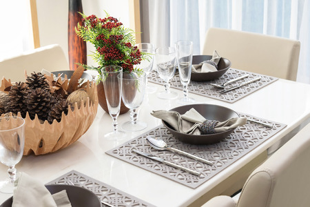 dinning room: served with a plate on the table in luxury dinning room