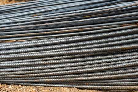 Steel rods or bars used to reinforce concrete in construction photo