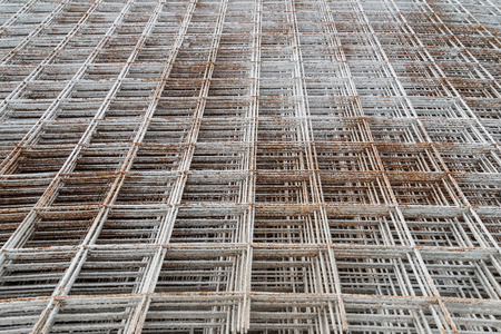 on rebar: Stacked rebar grids at the construction site