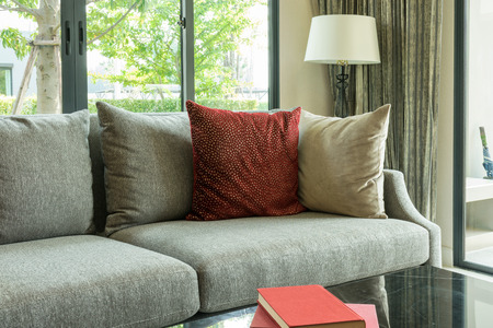red pillows: modern living room design with red pillows on sofa and lamp