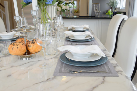 beverage decoration: elegant table set in vintage style dining room interior