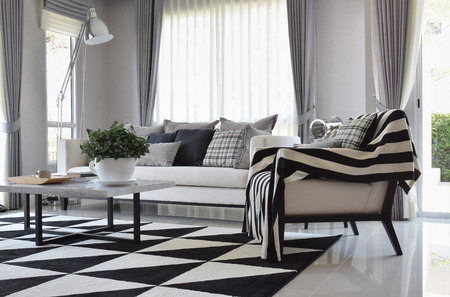 モダンなリビング ルーム インテリアに黒と白のチェック模様の枕、カーペット