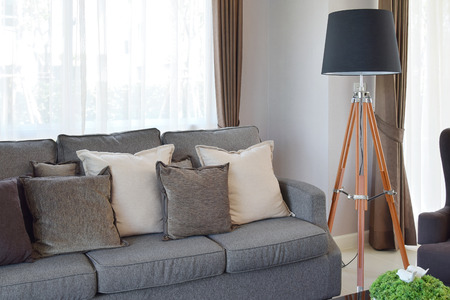 LAMP: modern living room design with sofa and wooden lamp Stock Photo