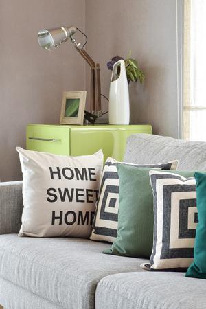 Gezellige grijze bank met geometrische patroon kussens in moderne woonkamer