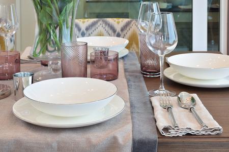 dining set: Elegance dining set  on wooden table