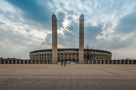 sponsors: Berlin, Germany - April 17, 2013: Exterior view of Berlins Olympia Stadium, built for the 1936 Summer Olympics. Editorial