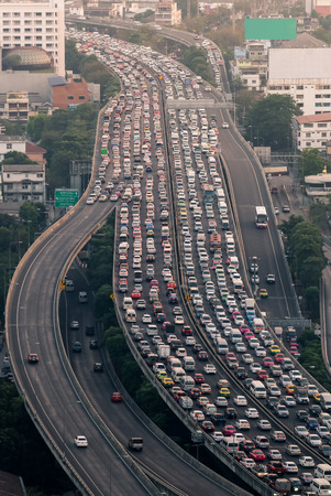 Traffic jam on express way Bangkok, Thailand