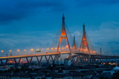 industrail: The Bhumibol Bridge across the river at twilight, The Industrail Ring Road Bangkok, Thailand