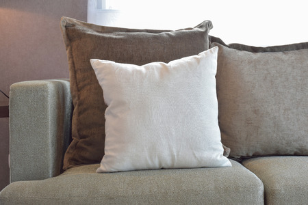 White, brown and grey velvet pillows setting up on sofa in living room interior