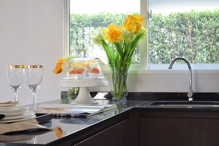 counter top: modern pantry with sink and utensil on granite counter top at home Stock Photo