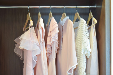 Sweet pastel blouses are hanging in open wooden wardrobe
