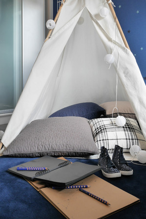 living style: Tent style homework area in the living room
