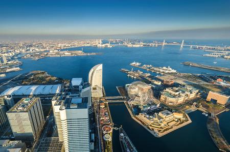 minato: Aerial view of Yokohama Cityscape at Minato Mirai waterfront district.