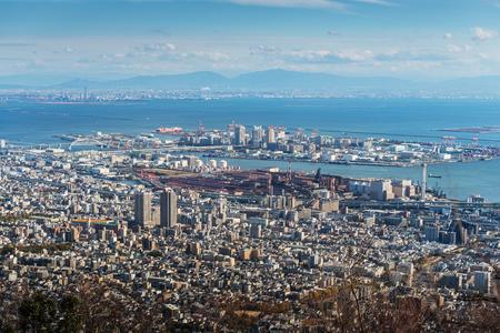 Aerial view of Kobe City,Japan Stock Photo