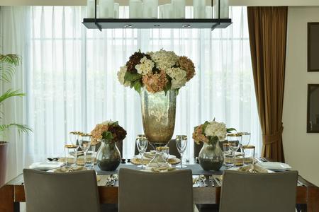 dining set: Beautiful flowers setting on elegance dining set up