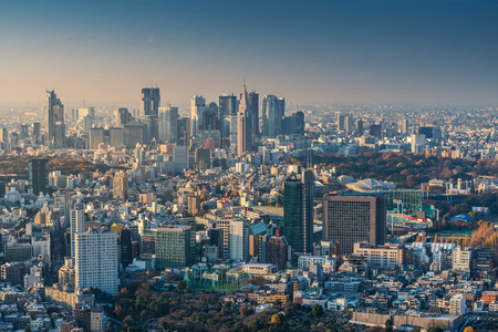 Skyline of Tokyo Cityscape at Sunset, Japan Stock Photo