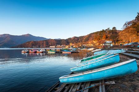 kawaguchi: Boats are availble for tourist at Lake Kawaguchi, Japan