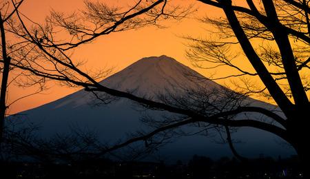kawaguchi: The mountain Fuji and lake kawaguchi at sunset