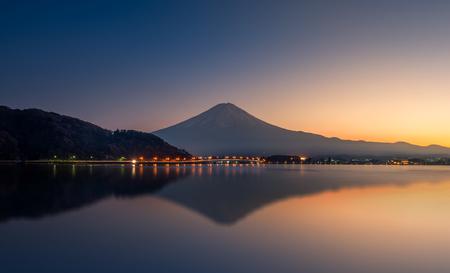 kawaguchi: Reflection of mountain Fuji and lake kawaguchi at sunset