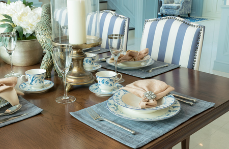 restaurant dining: luxury table set in classic style dining room interior