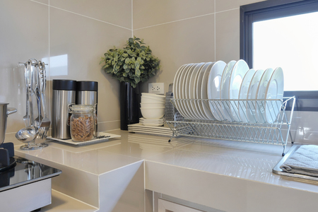 clean home: clean counter in kitchen with utensil at home