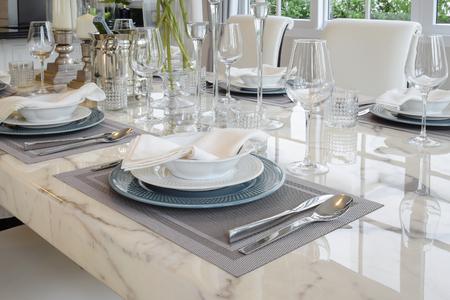 elegant table set in vintage style dining room interior