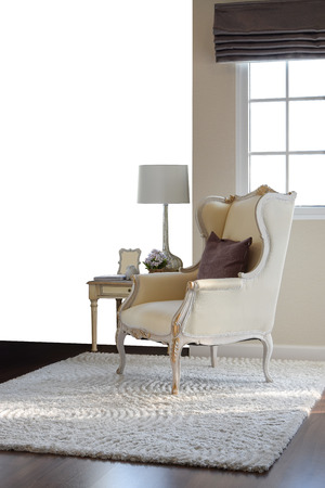 classic chair with brown pillow on carpet in vintage style interior isolate on white background