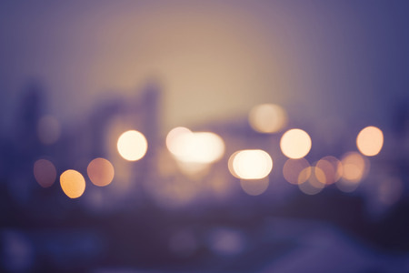 Abstract urban night light bokeh, defocused background Stock Photo