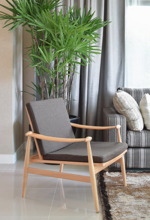 comfortable chair: comfortable wooden chair in modern living room at home