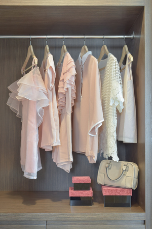 blouses: Sweet pastel blouses are hanging in open wooden wardrobe